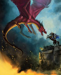 """And with a stroke of his lance, Ser Ewwin of Whitecoast sent Raegel the Terrible plummeting into his very flames, and so ended the last of the dragons' wars."""