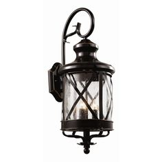 Features:  -Wall lantern.  -Seeded glass.  -UL listed for wet locations.  Lighting Type: -Wall lantern.  Fixture Material: -Metal.  Shade Material: -Glass.  Bulb Type: -Incandescent.  Wattage: -40 Wat