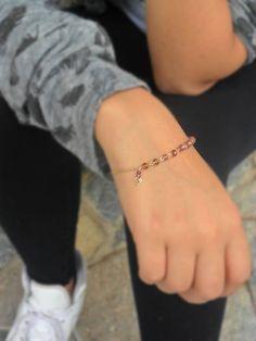 Pulsera de cuentas y cadena, cristal bracelet, gold-plate bracelet, lavanda cristal bracelet de BetzalelDesigns en Etsy