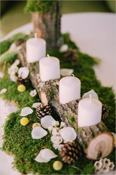 Rustic Wedding log candle holder in Slovenia | Wedding Chicks