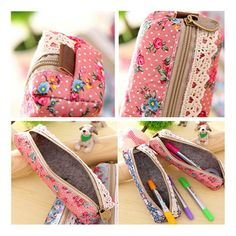 Very pretty pink make-up case with lace detail, made out of vintage floral fabric. It offers a handy and stylish storage solution for make-up bits and bobs. Especially useful if you need to put lipstick or mascara in your handbag without them rattling around inside. Beautiful floral design and zip closure make this lovely make-up case a must have when you are on the move.