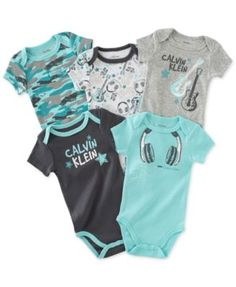 Calvin Klein Baby Boys' 5-Pack Turquoise & Gray Bodysuits