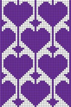 filet crochet or tapestry with heart motif