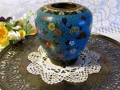 Antique Chinese Cloisonne Vase Copper Overlay on Brass and