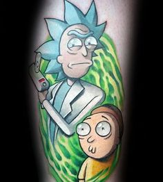 Side Of Leg Mens Rick And Morty Tattoo
