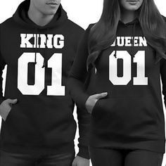 Hot Sweatshirt Hoodies Harajuku Fashion Print King and Queen Lovers Couples Sweatshirts For Autumn Men and Women Tracksuits