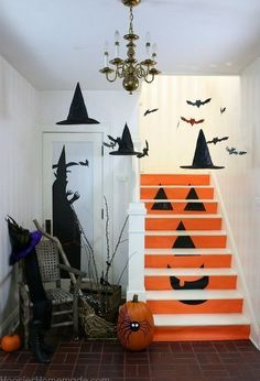 Decorate your staircase area for Halloween this year with a few simple steps and supplies.