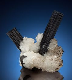 SCHORL with CLEAVELANDITE. Haramosh Mts., Skardu District, Baltistan, Gilgit-Baltistan (Northern Areas), Pakistan.