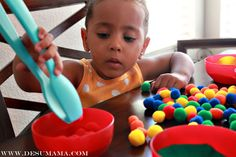Fine motor skills and color sorting activity for two year old toddler