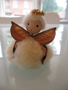 Vintage Cotton Boll Angel Christmas Ornament