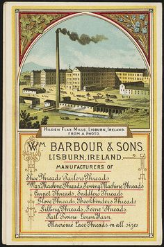 Barbour's linen thread [back] Vintage Ads, Vintage Sewing, Vintage World Maps, Binder Labels, Sewing Cards, Boston Public Library, Barbour, Couture, Ephemera