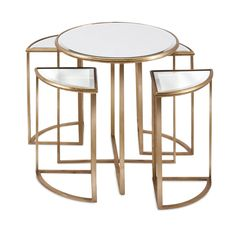 Imax Limba 5 Piece Mirrored Accent Tables Set - 47648-5