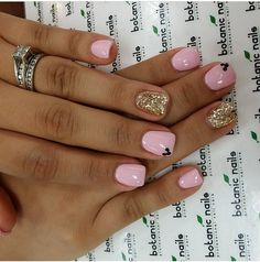 Pink & gold nail design
