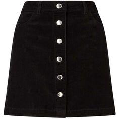 Miss Selfridge Black Cord A-Line Mini Skirt (€32) ❤ liked on Polyvore featuring skirts, mini skirts, bottoms, saias, black, cotton skirts, mini skirt, short mini skirts, a line mini skirt and cord skirt