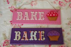 Handmade Felt Cupcake Bake Sign Plaque Hanging -Choice of 2 colours -Kitchen. Felt Cupcakes, Baking Cupcakes, Kid Furniture, Plywood Furniture, Furniture Design, Local Craft Fairs, Mollie Makes, Felt Decorations, Handmade Felt