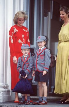 Princess Diana with William and Harry at Weatherby school in Notting Hill in 1989