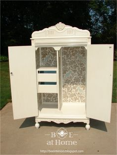 renovated armoire - love the detail and inside print!