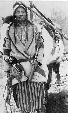 Assiniboine man - circa 1890 - by ???