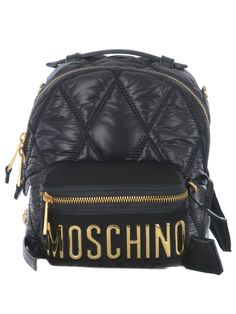 Gucci Jacket Mens, Small Quilts, Black Quilt, Black Backpack, Moschino, Fashion Backpack, Shoulder Strap, Backpacks, Zipper