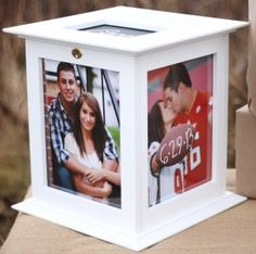 Our white 8 x 10 picture frame wedding card box is our best seller. This wedding card holder spins on a base for ease of photo viewing on all sides Box Picture Frames, Wedding Picture Frames, Wedding Frames, Wedding Ideas, Wedding Stuff, Dream Wedding, Wedding Things, Wedding Decorations, Graduation Decorations