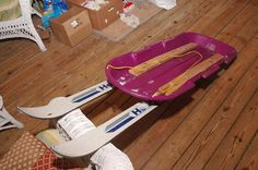 Out Your Backdoor: Project: Homemade World's Best Sled! - Most awesome sled ever.but could be wicked fast. Craft at your own risk! Luge, Sleds For Kids, Snow Sled, Winter Project, Weekend Projects, Diy Projects, How To Make Snow, Backyard Playground, Carving Designs