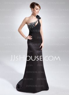 Mother of the Bride Dresses - $132.69 - A-Line/Princess One-Shoulder Court Train Satin Mother of the Bride Dress With Ruffle Beading (008015706) http://jjshouse.com/A-Line-Princess-One-Shoulder-Court-Train-Satin-Mother-Of-The-Bride-Dress-With-Ruffle-Beading-008015706-g15706