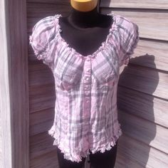 Maurices top Plaid Maurice's top white grey and pink. Ties on back for a cute look. Short sleeves. Maurices Tops