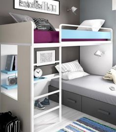 awsome i like it Bunk Bed Designs, Girl Bedroom Designs, Design Bedroom, Home Bedroom, Kids Bedroom, Bedroom Decor, Bedroom Ideas, Bunk Bed Rooms, Living Room Partition