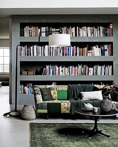 Living room with bookshelves Decor, House Design, House, Interior, Home, Home Libraries, Bookcase, Home Deco, Interior Design