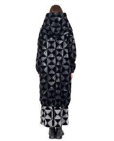 MARIOS Black waterproof coat non-removable hood long sleeves with cuffs drawstring hem 100% PA