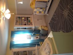 My Nursery. Yellow & Gray with a pop of Teal & Turquoise. Craft Room, Decor, Teal, Bed, Guest Room, Furniture, Grey, Home Decor, Room