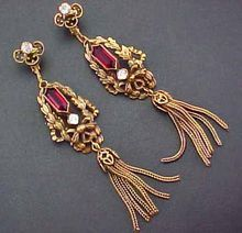 JOSEFF HOLLYWOOD Dangle Earrings Tassel Bow Open Back Red Glass Clear Paste Russian Gold Tone Vintage