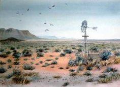 Karoo Landscape with Birds Watercolor Landscape, Landscape Art, Landscape Paintings, Landscape Photography, Nature Photography, Landscapes, Sheep Paintings, African Life, African Paintings