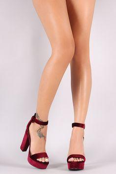 Bamboo Velvet Ankle Strap Chunky Platform Heel