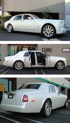 Here's a very nice color change wrap on a Rolls Royce Phantom installed by Wraps1. Materials used: 3M 1080 Satin Pearl White. www.wrapsone.com
