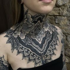 lit neck tattoo / neck piece by look at that fineline art. Chest Neck Tattoo, Chest Piece Tattoos, Pieces Tattoo, Mandala Chest Tattoo, Tattoos Skull, Black Tattoos, Body Art Tattoos, Sleeve Tattoos, Small Tattoos