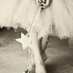 Ballerina Toes, Black & White- Little Girl in a Tutu