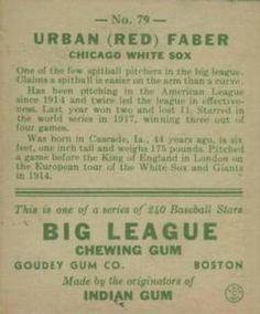 1933 Goudey #79 Red Faber Back