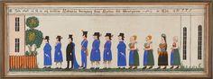 """PAINTING by Larshans Per Persson (1820-1879), Sweden, folk art, dated 1854 -- LARSHANS PER PERSSON (Björkberg, 1820-1879): """"Här skall ni få se och beskåda Leksands brudgång från kyrkan till Prostgården"""", signerad och daterad 1854 LH PPS, målad på duk, uppfodrad på pannå, höjd ca 55 x 164 cm"""