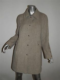 Michael Kors Couture SZ 10 Light Gray Wool Coat Jacket
