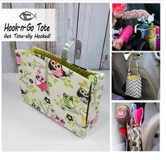 HOOK Handle TOTE with Attached Strap. Exclusively Designed & USA made. Car Organizer. Owl-Pink-Green-Polka Dot fabric