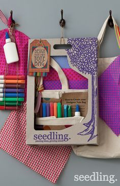 Get crafty with our design your own tote bag kit! You won't be able to resist telling all your friends that it was made by yours truly. www.seedling.com