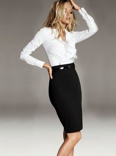 Basic black and white. High waisted pencil skirt