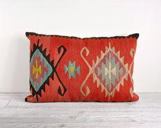 Vintage Kilim Rug Fragment Pillow / Decorative Pillow. $48.00, via Etsy.