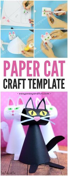 Cute Paper Cat Craft Template for Kids! Black kitties are a cute idea for a fall craft with preschool, kindergarten and first grade this Halloween!