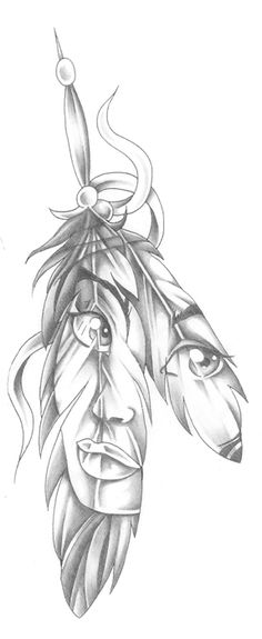 tattoo face in a feather native american indian style pretty