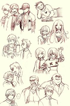 """cryogenic-heat: """"Some OFF modern/human AU sketches. I've been reading too much manga… """""""