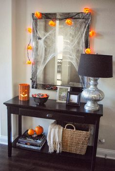 Love entry table and mirror-also great way to decorate for holidays
