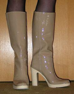 Beige patent Miu Miiu rainboots | Freya's world of high heel rubber boots | Flickr