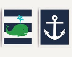 50% OFF.Nautical Navy and kelly green Whale nursery art print, navy and kelly green bedding nursery decor set of 2 prints, 8x10 PRINTABLES